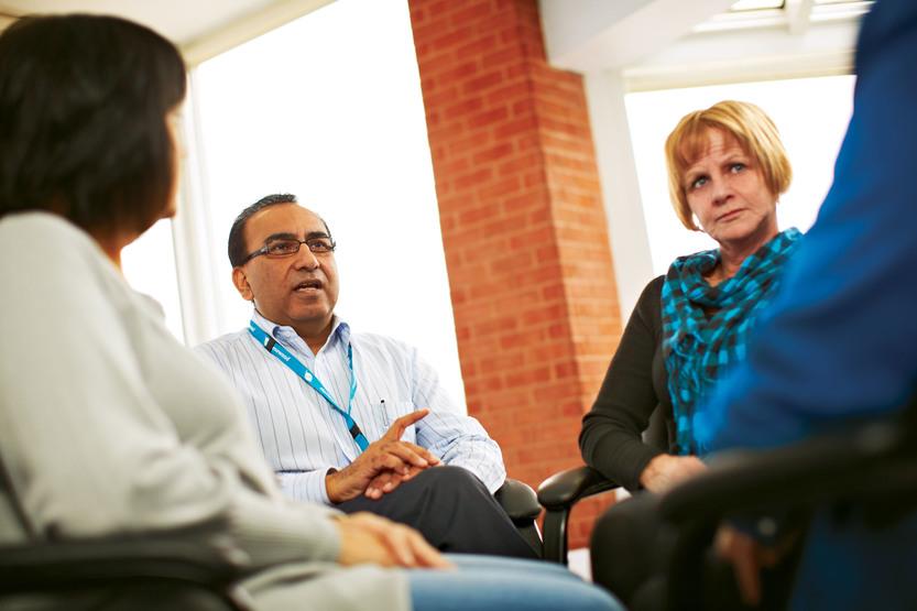 team having discussion